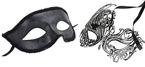 [Couple's Venetian Masquerade Mask Set Luxury Style Princess Party Mask] (Couple Masquerade Masks)