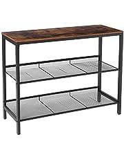 HOOBRO Console Table, Sofa Table with 2 Flat or Slant Adjustable Mesh Shelves
