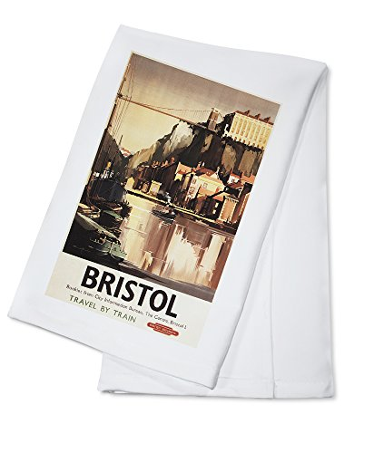 clifton-suspension-bridge-and-boats-british-rail-poster-100-cotton-absorbent-kitchen-towel