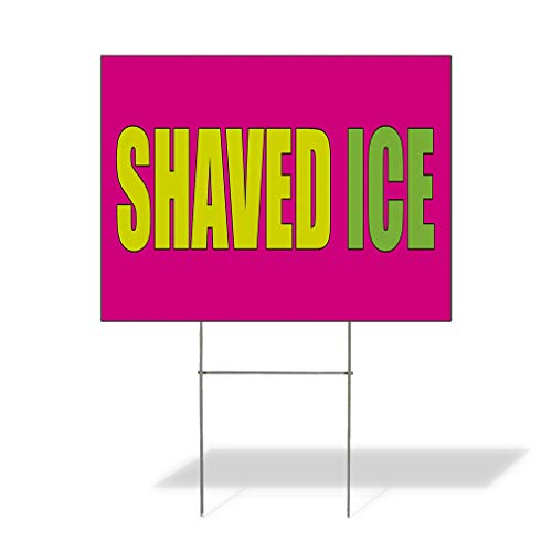 Plastic Weatherproof Yard Sign Ice Cream Shaved Ice Purple Red for Sale Sign One Side 18inx12in