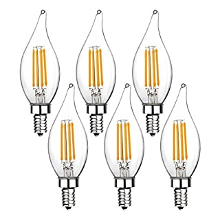 Ohderii LED Candelabra Bulbs, E12 Base for Chandelier or Ceiling Fan, 40W Equivalent, 2700K Warm White, 400 Lumen, 20,000 Hours of Life, Non-Dimmable, 6 Pack