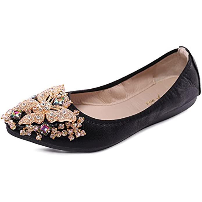 Cattle Shop Womens Foldable Ballet Flats Rhinestone Pointed Toe Comfortable Slip on Wedding Flat Shoes Dress Flats for Women