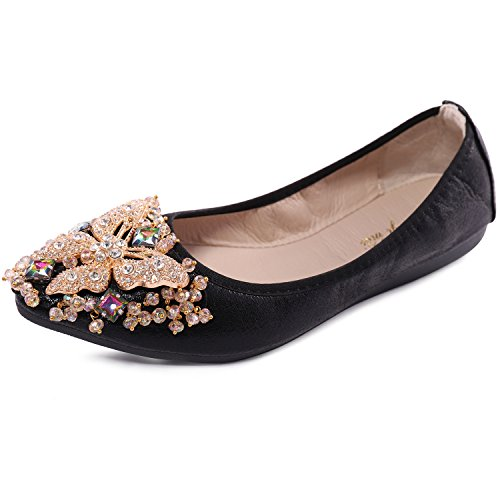 Cattle Shop Womens Foldable Soft Ballet Flats Bling Rhinestone Comfort Slip On Loafers Walking Shoes]()