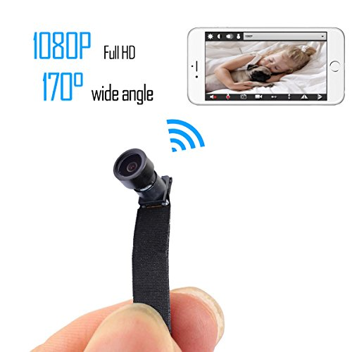 KAMRE Full HD 1080P Mini WIFI DIY Camera Nanny Cam with 170° Wide View Angle and Motion Detection for Home Security & Surveillance by KAMRE