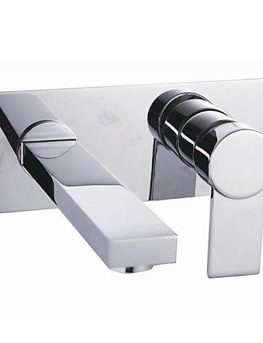 Chrom-Finish Einhand Weiß verbreitete Wandhalterung aus massivem Messing Waschbecken Wasserhahn