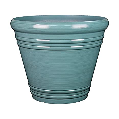 Wonderful Garden Treasures 11.06 In X 9.72 In Spa Blue Resin Planter