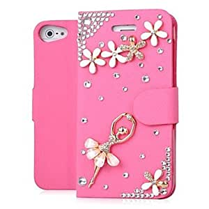 GJYBallet Dancing Girl Bling Jewelry Pattern PU Leather Plastic Hard Cases for iPhone 5/5S