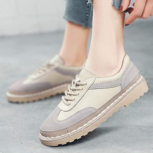 39 Tamaño Beige Femenino De Hwf Beige Zapatos Universitario Retro Otoño Estudiante Planos color Mujer Estilo Cordones Ocio Para Británico zUUacqgT