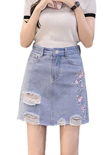 Fleurs Jean A Taille Jupe Femmes t Jupes Haute Une Les Blue De De t1wSPqBppx