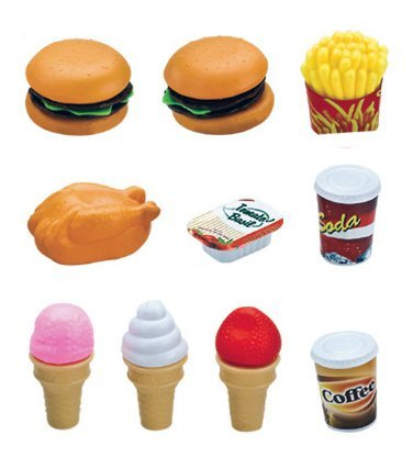 Deluxe Fast Food Lunch Play Set for Kids with Burgers, Chicken, Fench Fries, Ice Cream Dessert and (Play Lunch Foods)