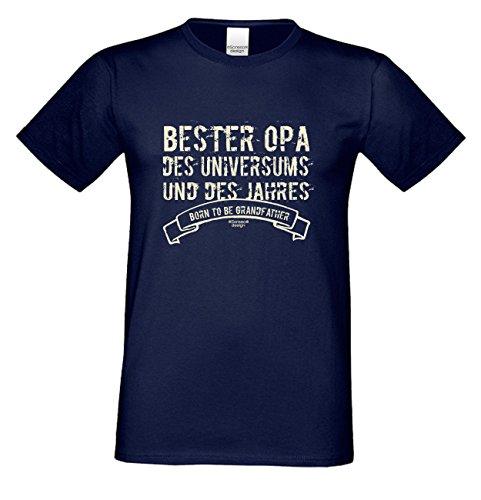 Großvater Fun-T-shirt als Top Geschenk mit GRATIS Urkunde - Bester Opa des Universums Farbe: navy-blau Gr: S