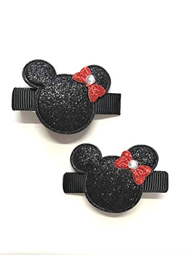 Minnie Mouse Hair Clips Disney Minnie Mouse Set of 2 Glitter Mouse Ears