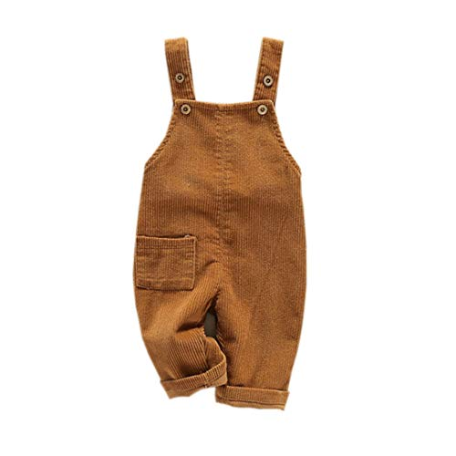 Mornyray Toddler Boy Girl Soft Corduroy Suspender Pants Kids Overalls Retro Size 2-3T (Khaki)