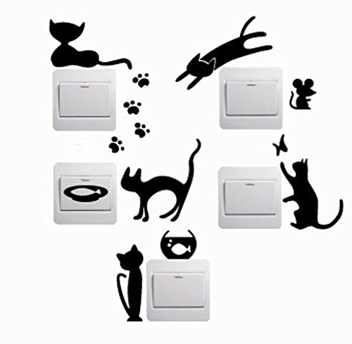 [Ussore Wall Sticker 5pcs Cute Lovely Cat Switch Removable Art Vinyl Mural Sticker Art Home Decor] (Cute Halloween Pictures Of Cats)