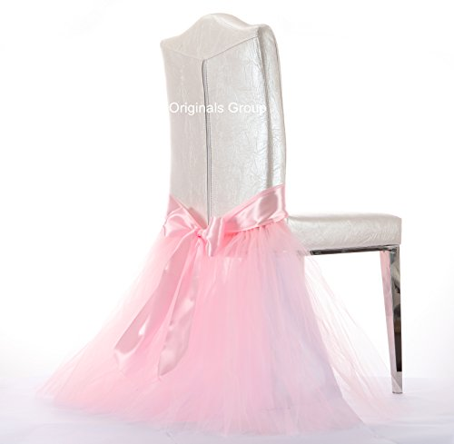 Originals Group Tulle Chair Tutu Skirt with Sash Bow chair covers for Wedding, Party Supplies Decor (1, Baby Pink)