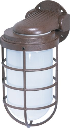Large Aluminum Round Bulkhead (Nuvo Lighting SF76/623 Industrial Style Large Heavy Duty Aluminum Durable Outdoor Wall Mount Porch and Patio Light with Frosted Glass, Old Bronze)