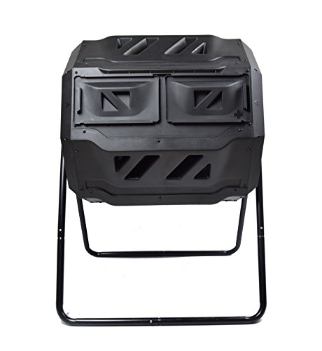 Lowest Prices! MaxWorks 80699 Garden Compost Bin Tumbler, 42 Gallon Capacity with 2 Chambers Dual Ro...