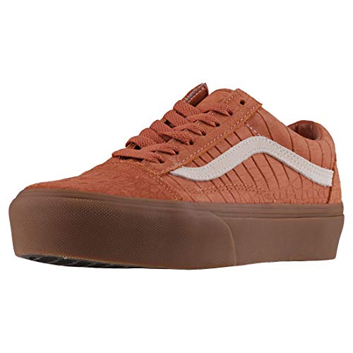 (Vans Old Skool Platform Womens Trainers Tan Gum - 8 UK)