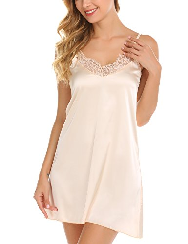 - Ekouaer Sexy Nightie Sleepwear Lace Satin Nightgown for Women Beige