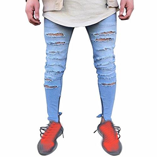 Uomo Alla Strappati Ohq Zip Pantaloni Skinny Con Moda Slim Blu Da Motociclista Jeans Elasticizzati Denim Distrutti Fit 6XUwUqxt4