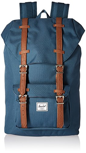 Herschel Supply Co. Little America Mid-Volume Backpack, Indian Teal/Tan Synthetic Leather by Herschel Supply Co.