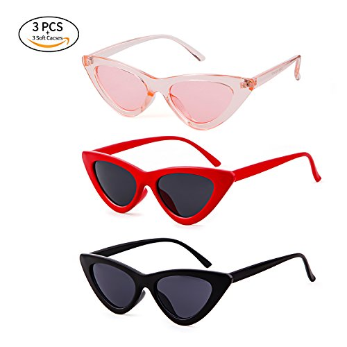 Gifiore Retro Vintage Cat Eye Sunglasses for Women Clout Goggles Plastic Frame Glasses (Black&Red&Pink, 51) -
