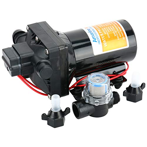 Amarine Made 12V Automatic Fresh Water Pressure Diaphragm Pump 5 GPM 55 PSI Self Priming Pump for Caravan/RV/Boat/Marine