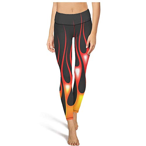 (Womens high Waisted Leggins Red Flames Black Background Poster Pockets Yoga Pants Classic Leggings for)
