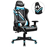 Homall Gaming Chair Pu Leather Bucket Seat Racing Style Seat Gaming Chair w/ Adjustable Armrest Ergonomic Headrest and lumbar Support (Blue)