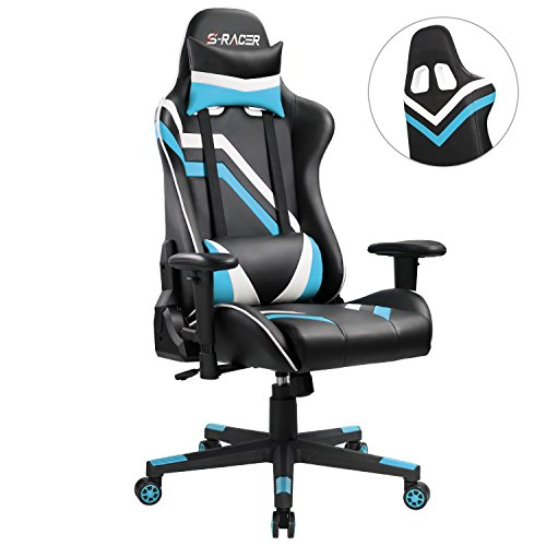 Homall-Gaming-Chair-Pu-Leather-Bucket-Seat-Racing-Style-Seat-Gaming-Chair-w-Adjustable-Armrest-Ergonomic-Headrest-and-lumbar-Support-Blue