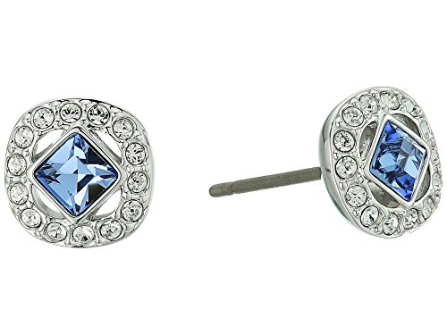 Swarovski Crystal Blue Angelic Square Rhodium-Plated Earrings ()