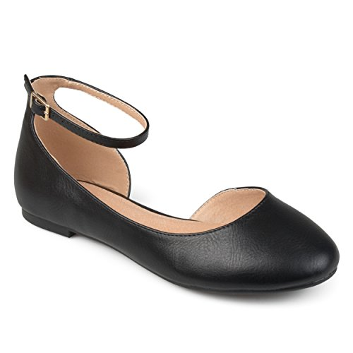 Journee Collection Womens Wide Width Dorsay Ankle Strap Round Toe Flats Black T79j0LZx