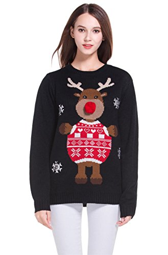 Women's Christmas Cute Reindeer Snowflakes Knitted Sweater Girl Pullover (X Large, 3D ()