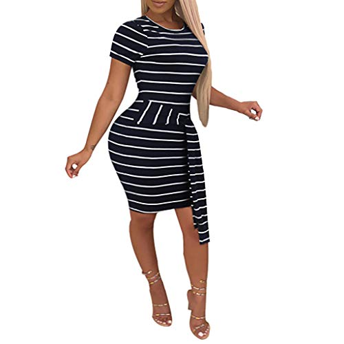 ♛TIANMI Dress for Women,Summer Casual Short Sleeve Striped Print Belt Tight Bodycon O-Neck Dress(Black,M)