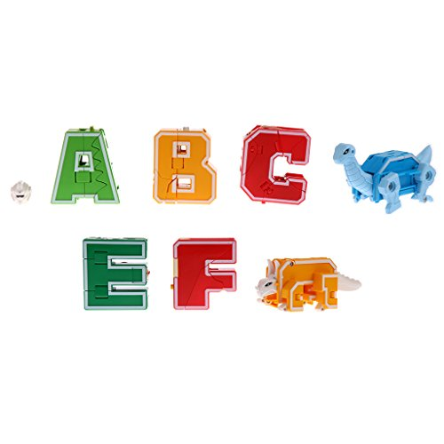 (MagiDeal Pack of 7 English Letters Armour Team Transforming Robot Toy Kids Party Bag Fillers -)