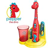 Brusheez Kid's Electric Toothbrush Set - Pepper the Dino - New & Improved with Softer Bristles, Easy-Press Power Button, 2 Brush Heads, Cute Animal Cover, Sand Timer, Rinse Cup & Storage Base