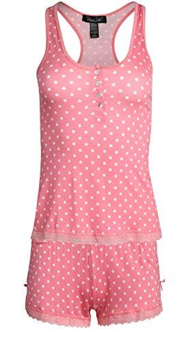 Rene Rofe Women's Sleepwear Tank and Short Pajama Set, Coral Dots, Size Small'