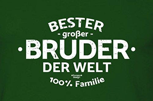 Bruder Geschenkeset Fun-T-shirt zu Weihnachten oder zum Geburtstag mit GRATIS Urkunde - Bester großer Bruder der Welt Farbe: dunkelgrün Gr: XL