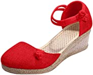 Women's Classic Closed Toe Espadrilles Wedge Sandals Strappy Slingback Platform Summer Shoes