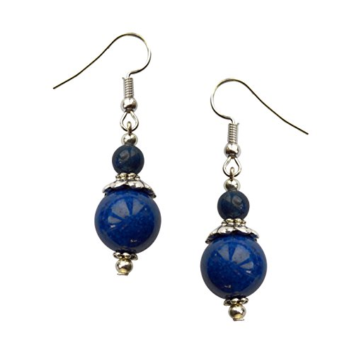 Yves Renaud Polished Silver Simulated Lapis Lazuli Blue Dangle Drop Earrings - Hypoallergenic Fashion Jewelry for Women, Girls