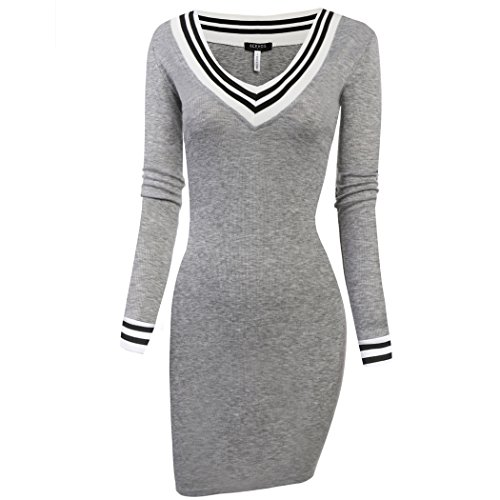 Buy grey v neck sweater with dress shirt - 8