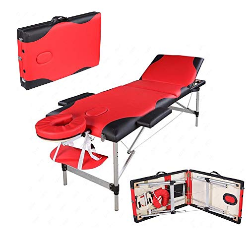 Simply-Me Massage Table Massage Bed Aluminum Alloy 3 Folding Portable Beauty Massage Table Height Adjustable Spa Bed Facial Salon Tattoo Bed,Red with Black Edge