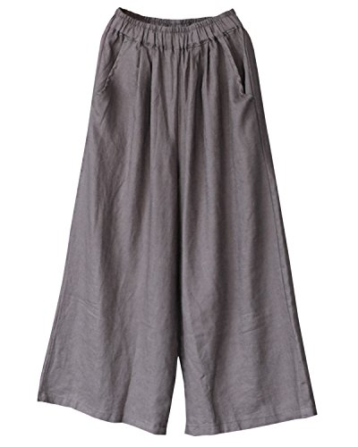 Aeneontrue Women's Casual Linen Wide Leg Pants Elastic Waist Pull On Trousers with Pockets Gray by Aeneontrue (Image #4)