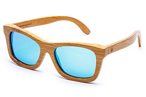 Tree Tribe Polarized Bamboo Sunglasses with Hard Case and Microfiber Pouch - Original Floating Bamboo Wood Wayfarer Style for Men and Women - Mirror Ice Blue - Organic Sunglasses