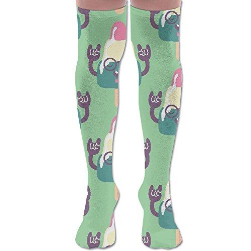 Strange Ice Cream Over Knee High Boots Long Socks For Women & Girls