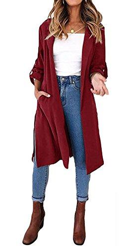 Maniche Solido Trench Casacca Con Vino Donne Bavero Outwear Anteriore Aperta Lunghe Cintura UwI5xEnq