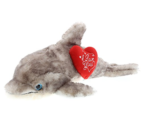 DolliBu Large Grey Dolphin I Love You Valentines Stuffed Animal - Heart Message - 16.5inch - Wedding, Anniversary, Date Night, Long Distance, Get Well Gift for Her, Him, Kids - Super Soft Plush