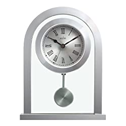Acctim 200 x 165 x 50 mm Bathgate Glass Pendulum Mantel Clock, Silver
