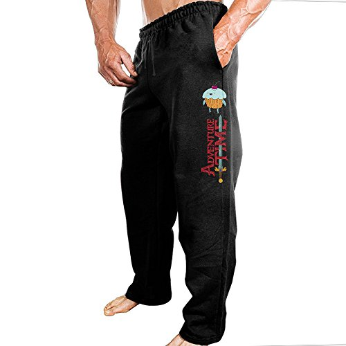 [TONGY Mens Adventure Animated Television Series Time Comfortable Rowing Particular Sweatpants Leisure Wear Size M Black] (Costume Party Run Times)