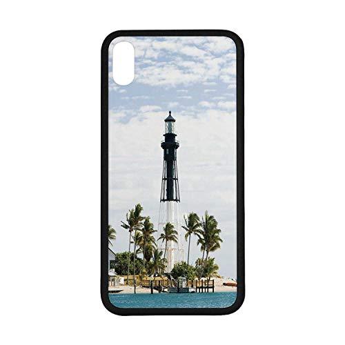 - United States Rubber Phone Case,Hillsboro Lighthouse Pompano Beach Florida Atlantic Ocean Palms Coast Decorative Compatible with iPhone Xs Max